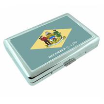 Delaware State Flag D1 Silver Cigarette Case / Metal Wallet Card Money Holder - $8.86