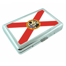 Florida State Flag D1 Silver Cigarette Case / Metal Wallet Card Money Holder - $8.86