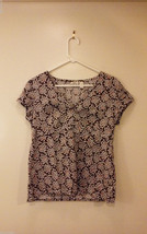 Bass (G.H. Bass & Co.) Women's Size M Floral Empire Top Blouse Brown Pink White