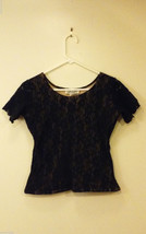 Kleids Women's Size S or M Black Lace Top w/ Nude Lining Short-Sleeve Crew-Neck
