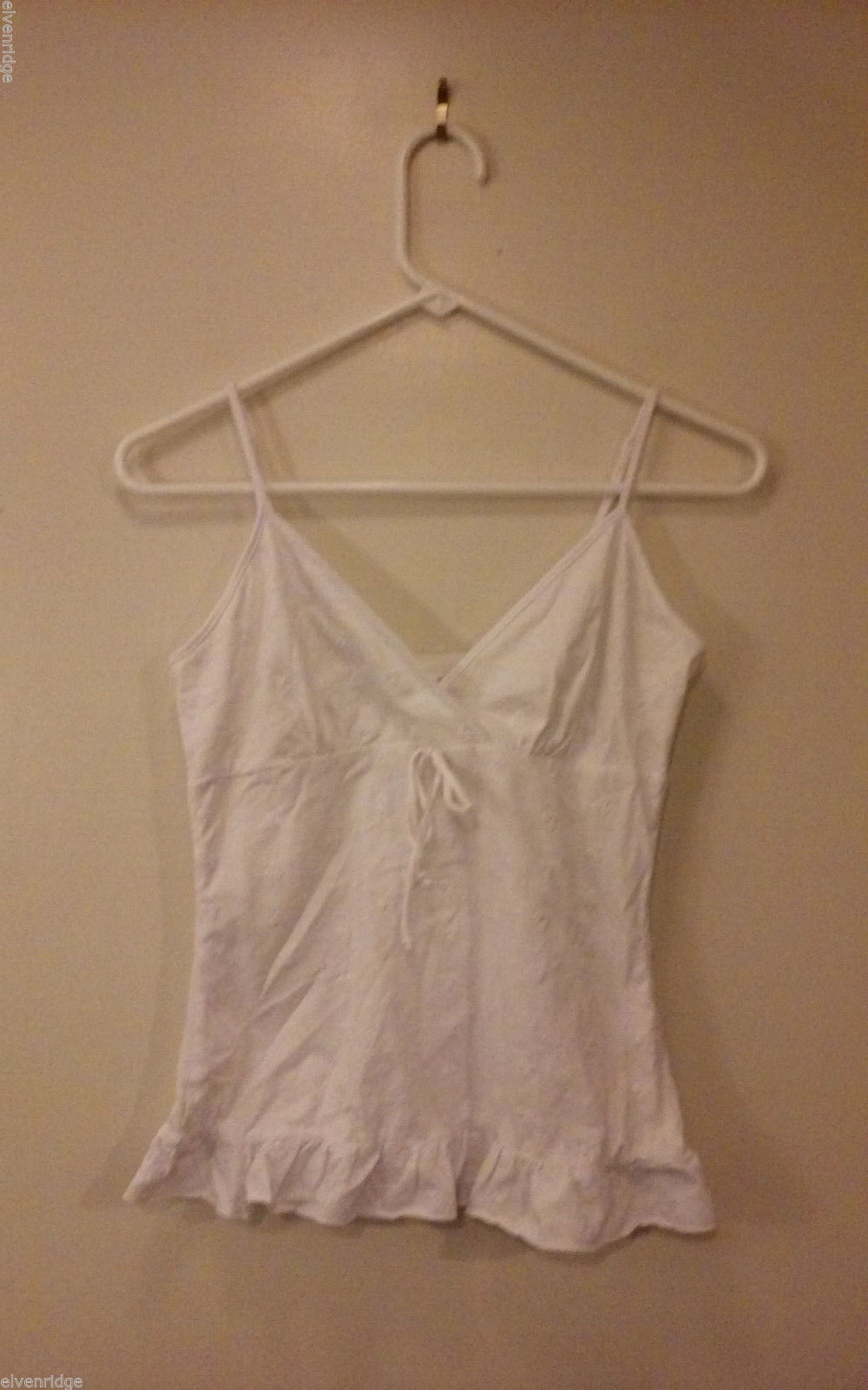 No Boundaries Juniors' Size 7/9 White Cami Camisole Floral Eyelet w/ Ruffle Trim