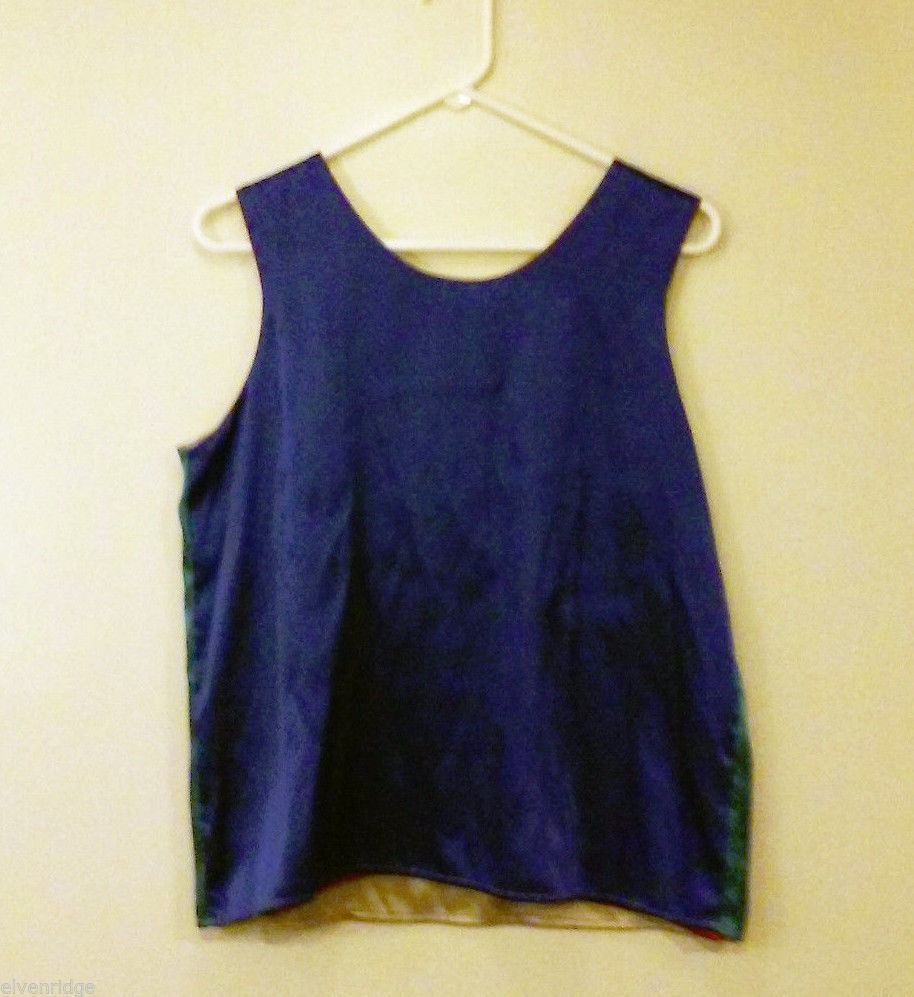 Unbranded Size L Reversible 4 Color Sleeveless Shell Top: Gold, Red, Blue, Green