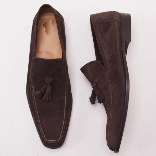 Handmade men brown suede leather mocassins, Men dress shoes, Men brown shoes