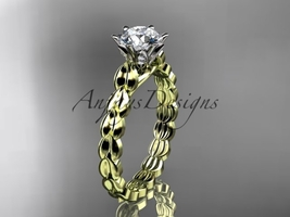 14k yellow gold diamond engagement ring with Moissanite center stone ADLR35 - $879.00