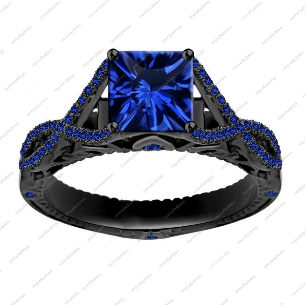 Black Rhodium Finish 925 Sterling Silver 2.65 ct Blue Sapphire Engagement Ring
