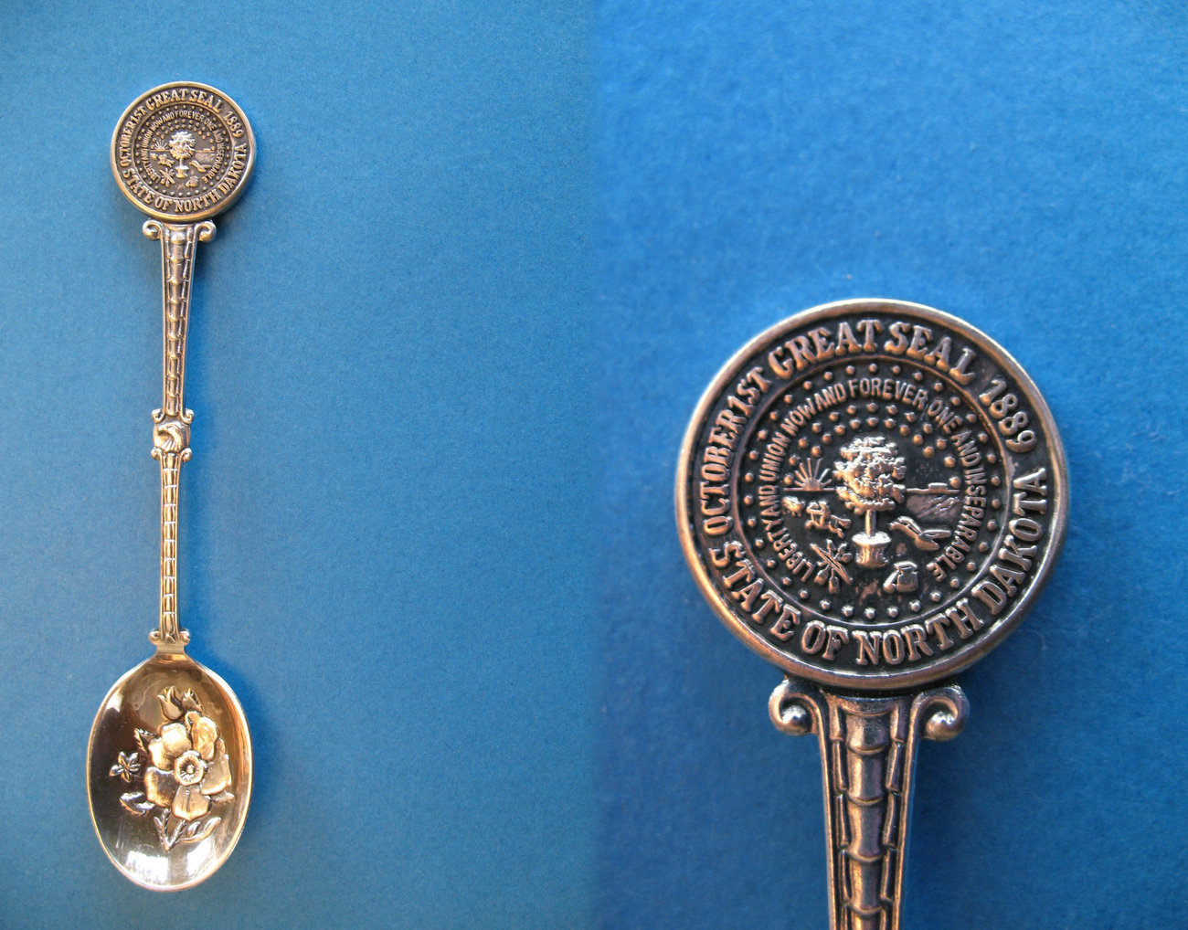 NORTH DAKOTA Souvenir Collector Spoon STATE SEAL FLOWER Rose Collectible Sp