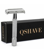 QSHAVE® Razor 8.7cm Short Handle Classic Safety Razor With 5 Blades Gift... - $13.38