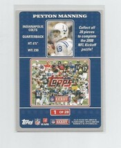 Peyton Manning (Indianapolis Colts) 2008 Topps Kickoff Puzzle Card #1 - $2.99