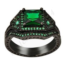 Emerald Ring Sets Green Zircon Women's 18Kt Black Gold Filled Engagement Wedding - $298.54