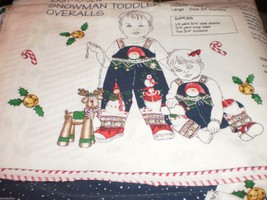 Daisy Kingdom Snowman Toddler Overalls Panel cut & sew 6, 12 & 24 Months - $17.95