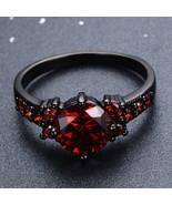 Red Garnet 925 Silver 14KT Black Gold Finish Women's Wedding Engagement ... - $89.99