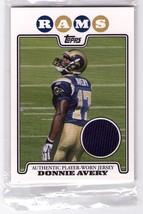 Donnie Avery (St Louis Rams) 2008 Topps Rookie Relic Card #Rpr Da - $4.99