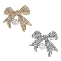 Wedding , Special Events Faux Pearl Rhinestone Bow Brooch 2 Colors - $10.79