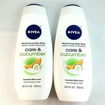 2 Count Nivea 16.9 Oz Care & Cucumber Melon Scent Lasting Moisturizing B... - $20.38