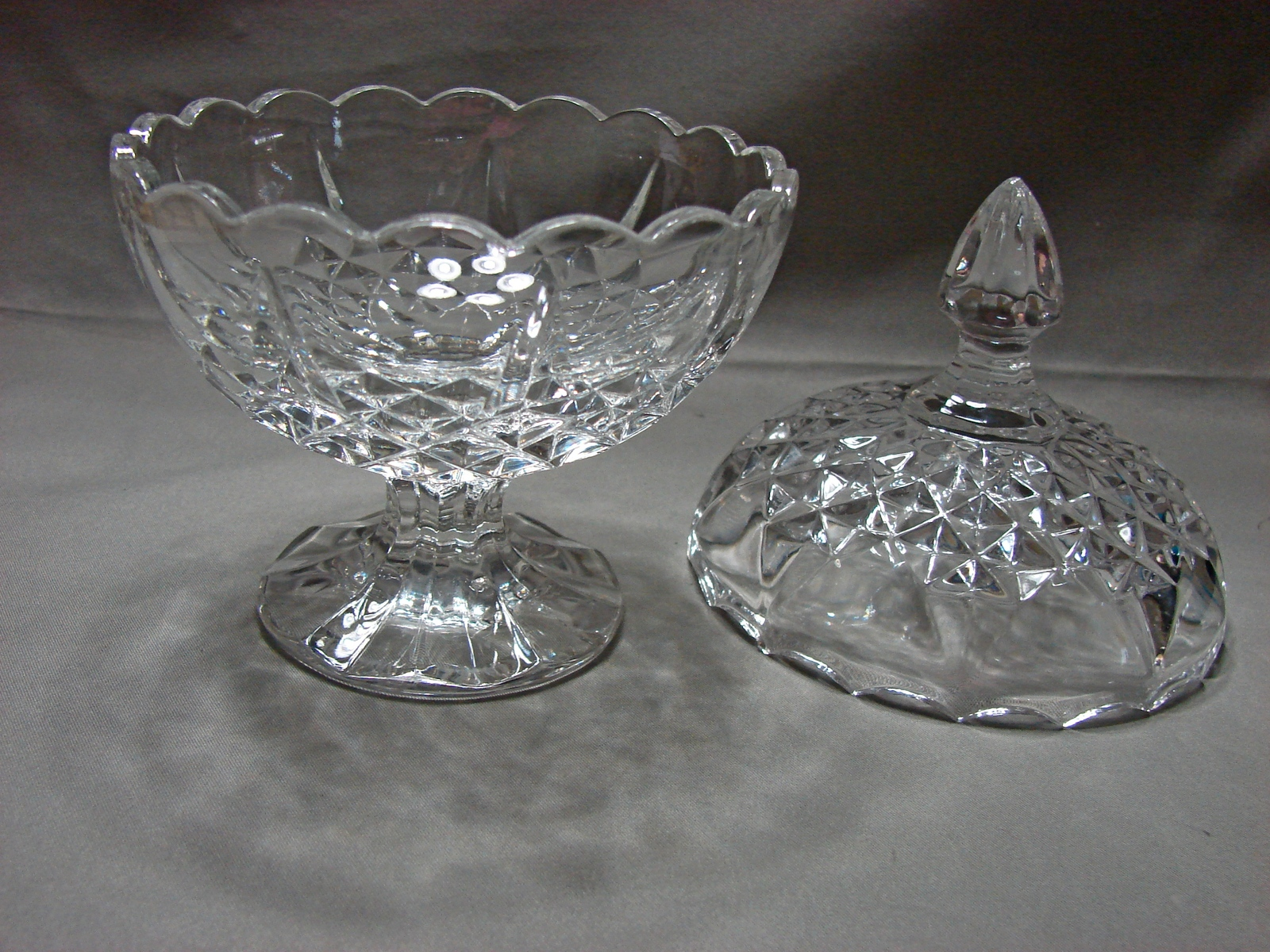 Zajecar Crystal Footed Compote Candy Dish W/ Lid