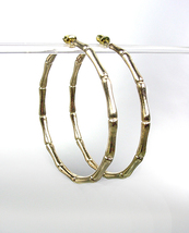 "CHIC & STYLISH Gold Plated Bamboo Motif 2"" Diameter Hoop Earrings - $14.99"