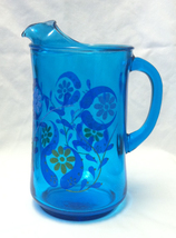 Vintage 1960s or 1970s groovy blue glass pitche... - $11.00