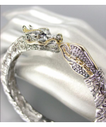 UNIQUE Designer Inspired Balinese Silver Cable Gold DRAGON Bangle Bracelet - $39.99