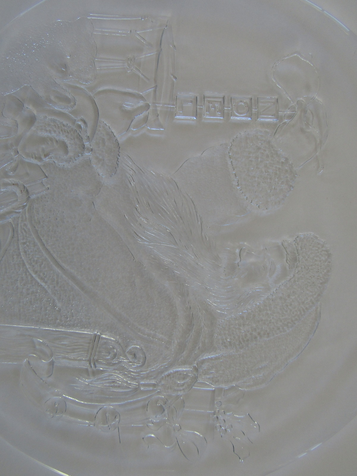 Plate, Christmas Cookies, Frosted Glass Santa Delivering Toys
