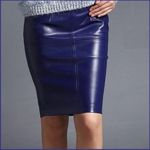 Royal Blue British Style Faux Patent Leather Knee Length Designer Pencil Skirt image 1