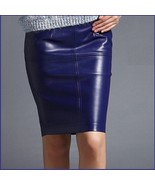 Royal Blue British Style Faux Patent Leather Knee Length Designer Pencil... - $89.95