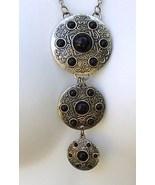 3 Medallion Pendant Necklace Black Cobochons Si... - $14.99