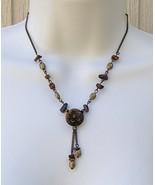 Tiger Eye Medallion Avon Necklace Burnished Bra... - $11.99