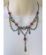 Avon Roses Bib Necklace Antiqued Brass Glass Rh... - $15.99