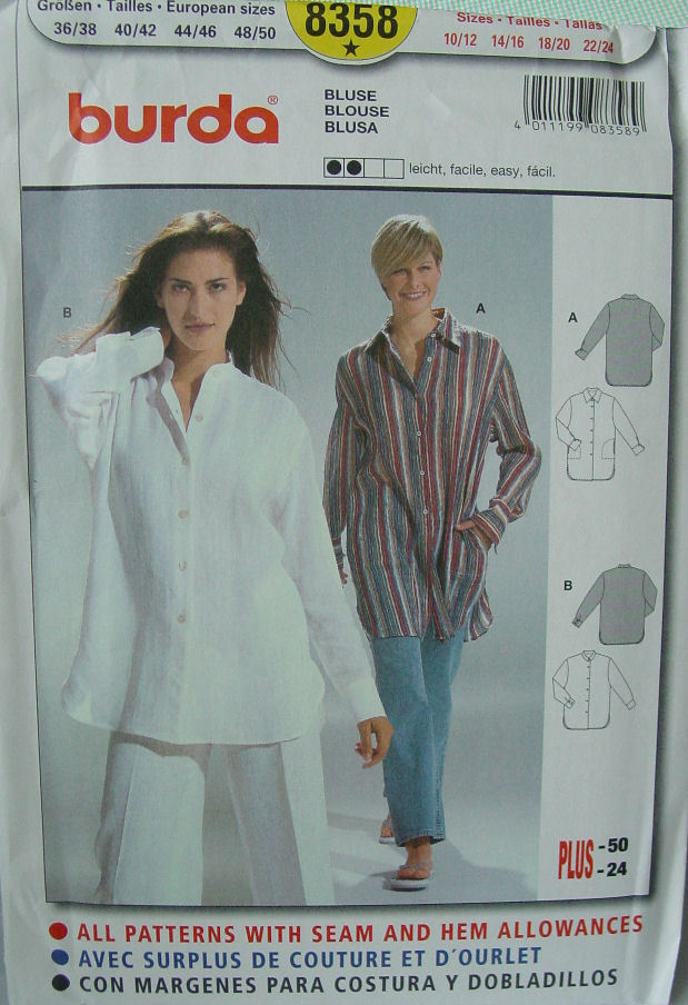 Pattern 8358 Plus Size Long Tunic Shirt sz 10/12- 22/24