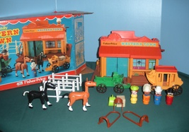 Vintage Fisher Price #934 Play Family Western Town 100% Complete MIB!!! - $145.00
