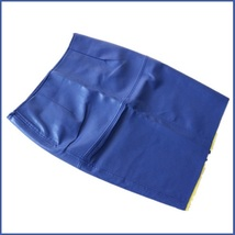 Royal Blue British Style Faux Patent Leather Knee Length Designer Pencil Skirt image 2