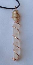 Quartz Crystal Wand Citrine Copper Wrapped Handcrafted Necklace Adjustab... - $15.99