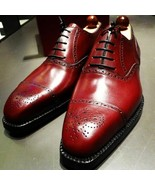Burgundy Oxford Brogue Cap Toe Premium Quality Leather Handcrafted Men's... - $149.99+