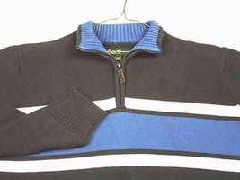 Eddie Bauer Mens 1/4 Zip Sweater Gray Blue White Stripes Cotton XL EUC - $17.99