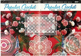 Vtg Doilies Edgings Chair Sets Buffet Place Mats Lily Design Crochet Pat... - $13.99