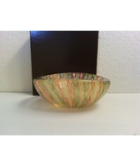 Pastels Latticino Zanfirico Gold Aventurine Art Glass Bowl Dish  - $113.92 CAD