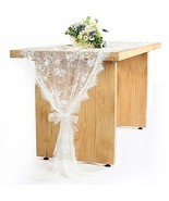 5 Pieces 30''x120'' White Lace Table Runner Overlay, Rustic Floral Weddi... - $44.95
