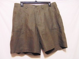"BROOKS BROTHERS Irish Linen Mens Shorts Sz 40 x 9"" Dark Brown Casual Gol... - $27.87"