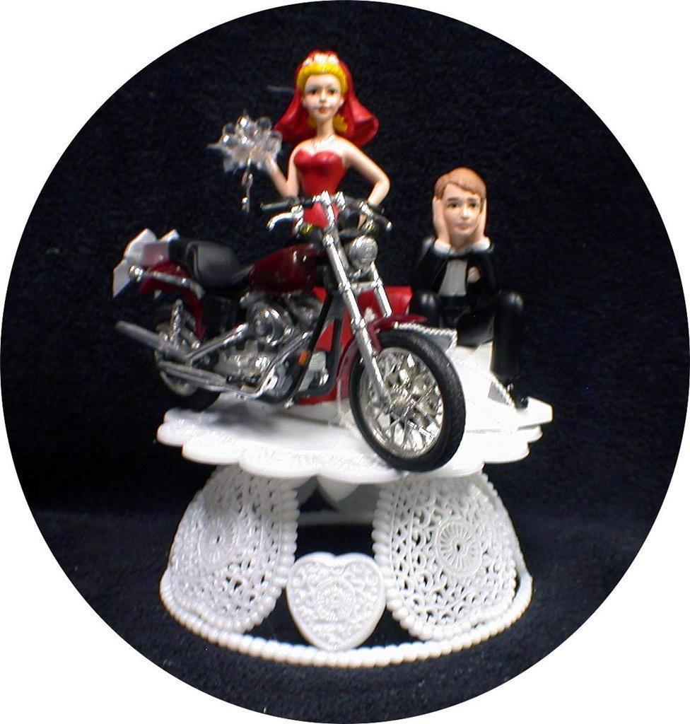 Sexy RED  bride dress Wedding Cake Topper w/diecast Harley Davidson Motorcycle - $69.18