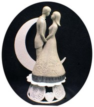 """Wedding Cake Topper Modern Bride  & Groom  """"Love is one heart shared by Two"""" - $29.14"""