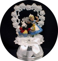 """ITS TIME"" Cute Rabbit ALICE IN WONDERLAND  Wedding Cake Topper Funny  G... - $54.25"