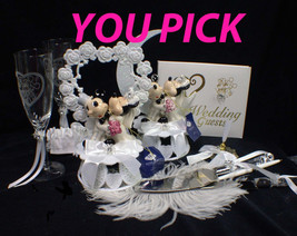 Mickey & Minnie Mouse Disney Wedding Cake Topper Funny Pick Heart or Moon Top - $41.80