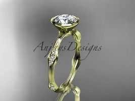 14k yellow gold diamond vine wedding ring, engagement ring  ADLR21A - $925.00