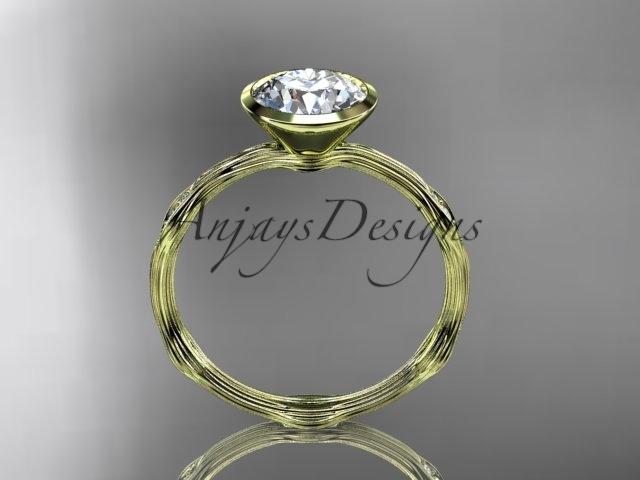 14k yellow gold diamond vine wedding ring, engagement ring  ADLR21A