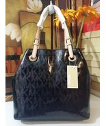 NWT Michael Kors Jet Set Grab Bag Tote Bag MK Sig Patent Leather Black M... - $170.99