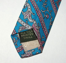 Vintage Tom James Turquoise Blue Green Paisley Silk Necktie Made in USA image 3