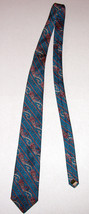 Vintage Tom James Turquoise Blue Green Paisley Silk Necktie Made in USA image 2