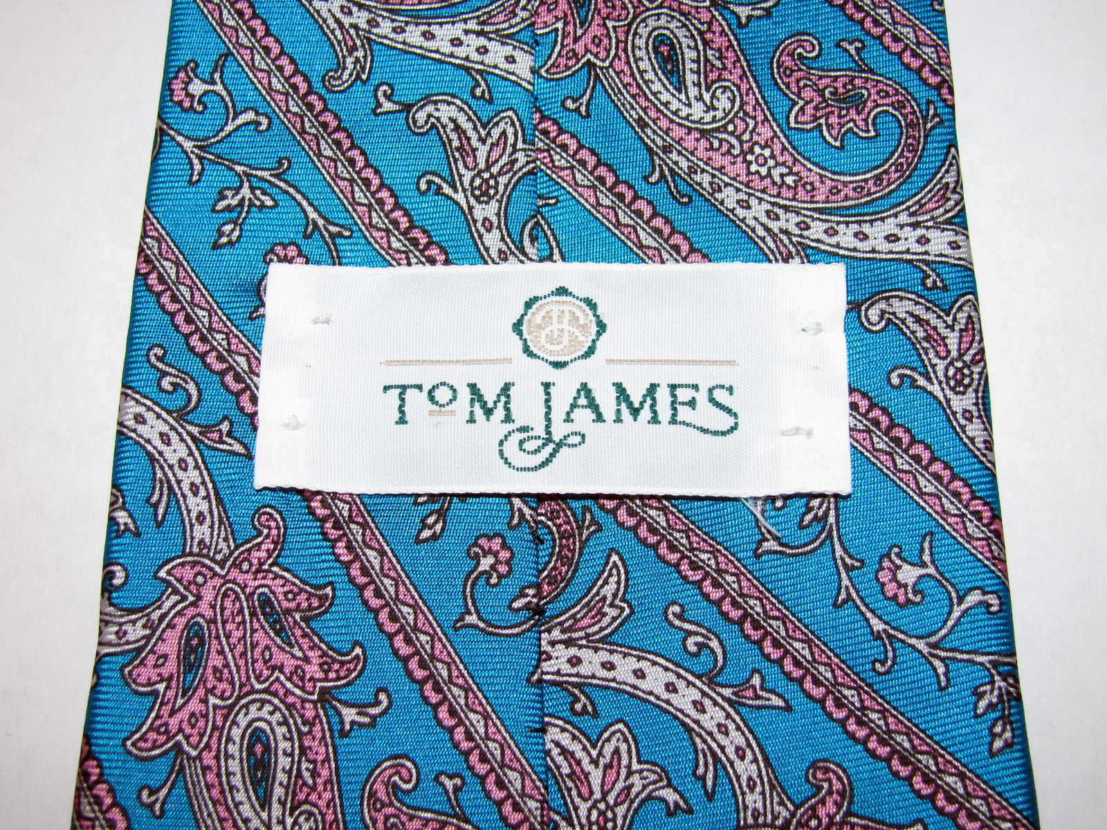 Vintage Tom James Turquoise Blue Green Paisley Silk Necktie Made in USA image 4