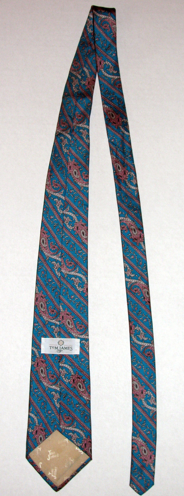 Vintage Tom James Turquoise Blue Green Paisley Silk Necktie Made in USA image 7