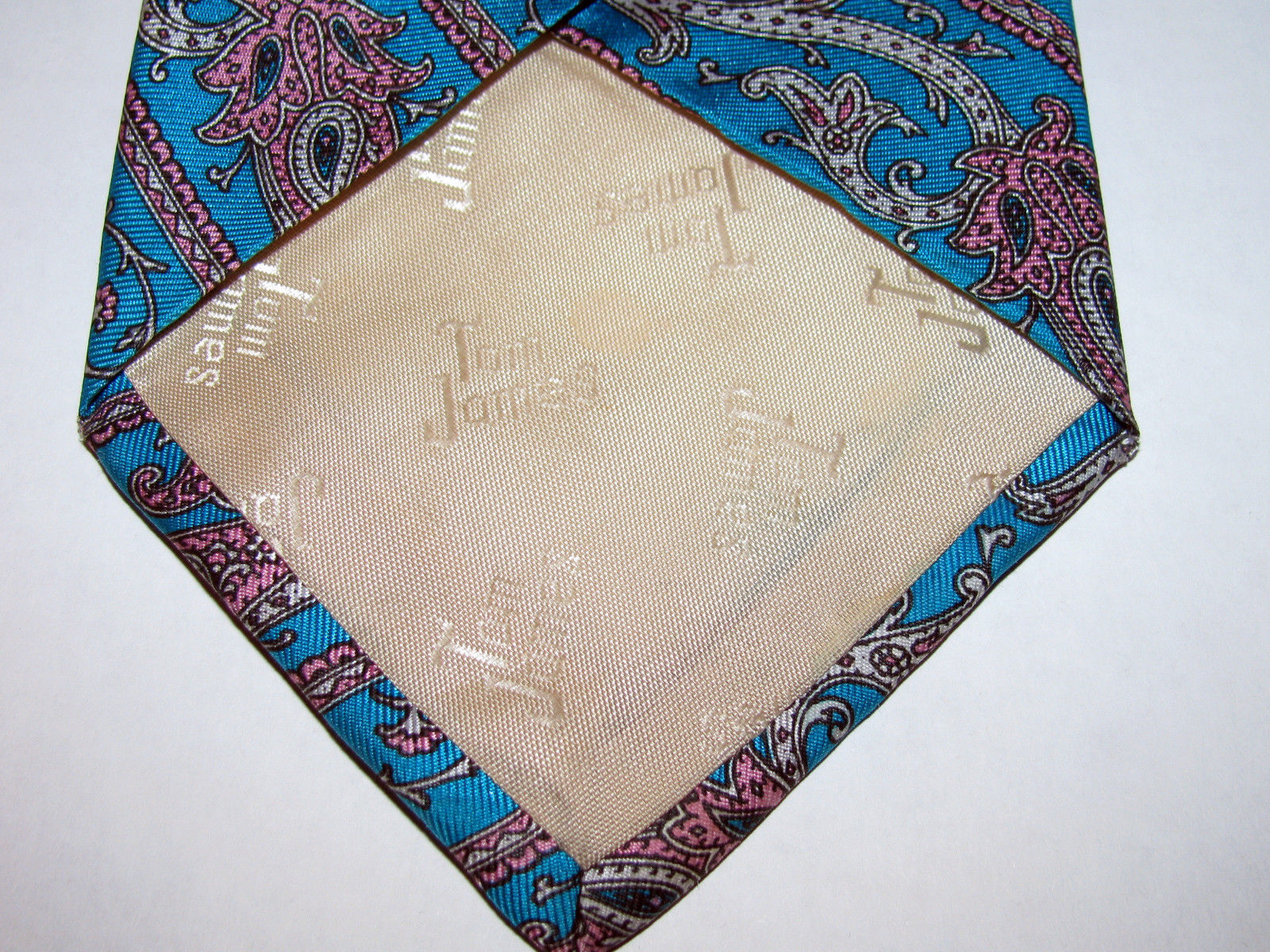 Vintage Tom James Turquoise Blue Green Paisley Silk Necktie Made in USA image 5